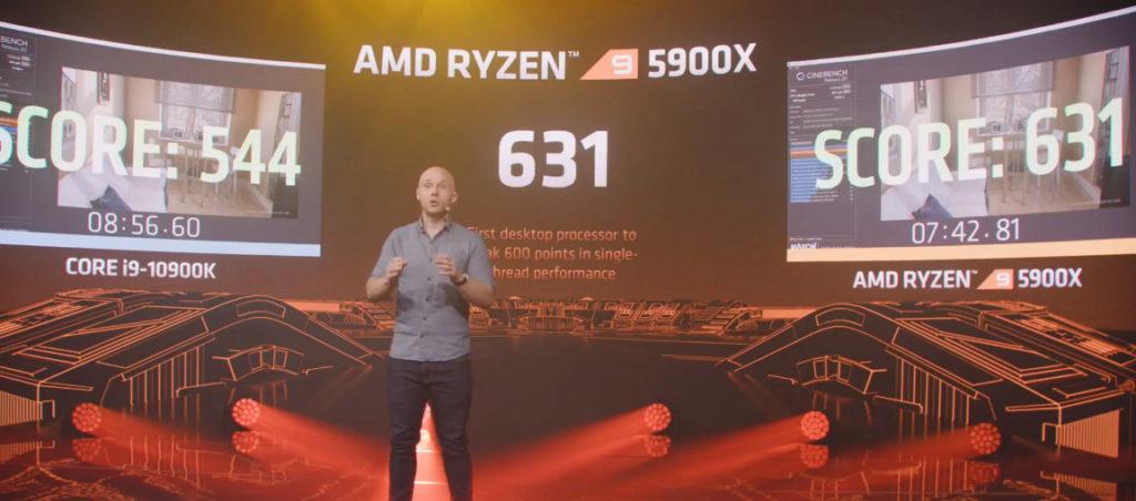 在《 Cinebench 20 1T Run 》創出 631 分,也是首款突破 600 分的桌面 CPU 。