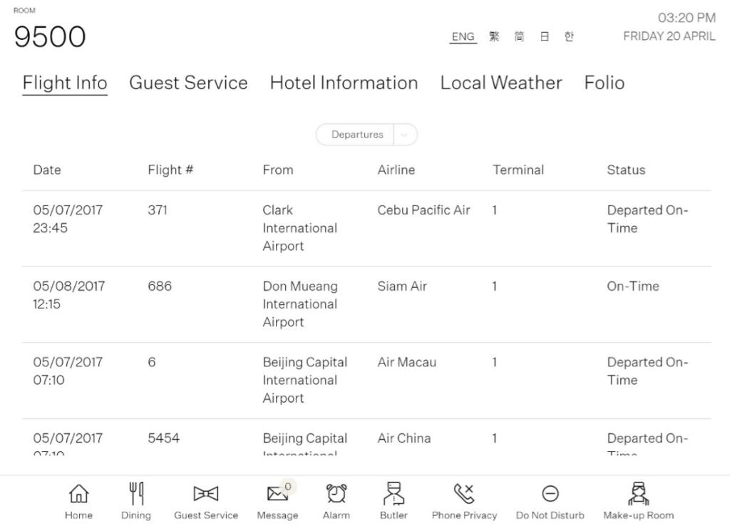 系統提供酒店設施、餐廳、商店及各種實時資訊,如當地天氣預報,機場航班資訊,方便住客安排行程。