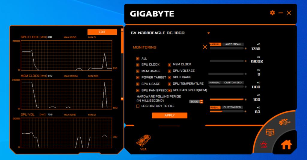 Monitoring 顯示內容可選從 GPU Clock 到 GPU Fan Speed (RPM) 全部顯示。不過受空間所限建議最多選 3 項。
