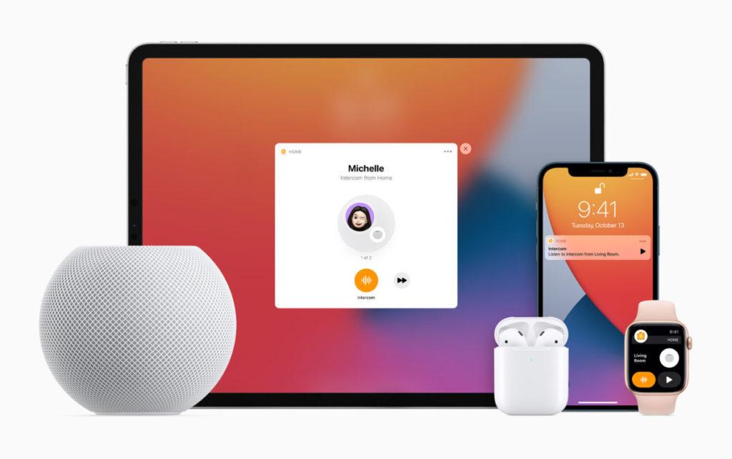 intercom 能透過其他 Apple 裝置傳送廣播內容