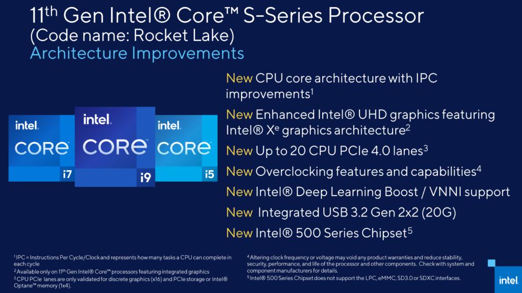 Rocket Lake 處理器有多項改進,包括提供 USB 3.2 Gen2x2 20Gbps 功能。