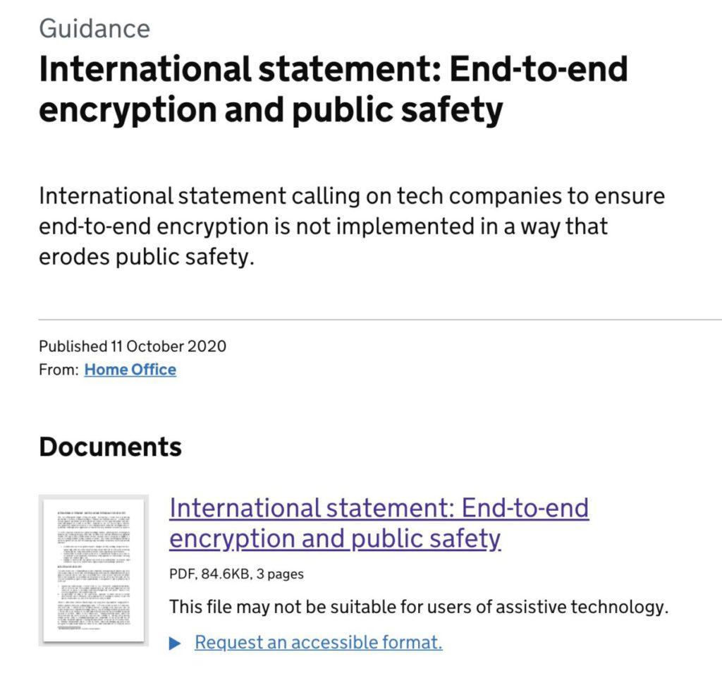 英國政府發表多國聯署聲明,表達端對端加密對公眾安全構成影響的關注。