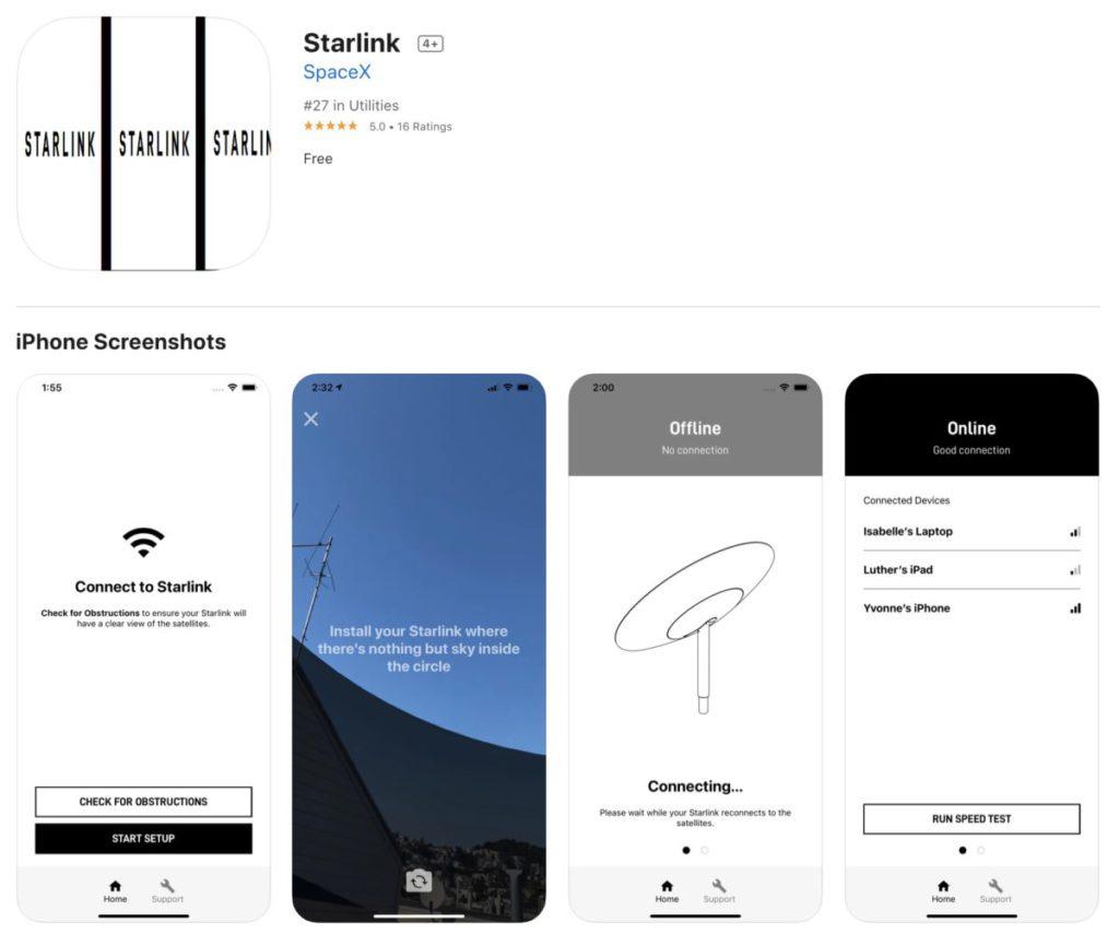 Starlink 同時推出手機程式讓用戶控制衛星接收。