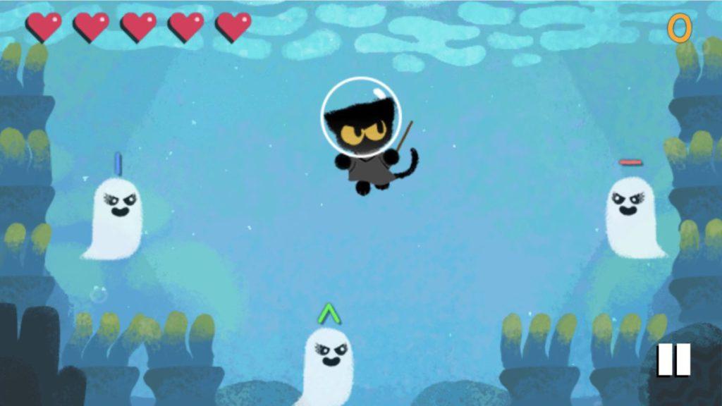 黑貓 Momo 勇闖海底拯救被拉下水的帆船。