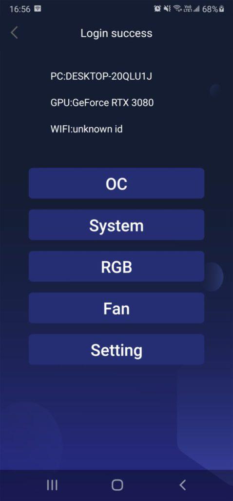 進入主頁面,可見有 OC 、 System 、 RGB 、 Fan 及系統設定等。