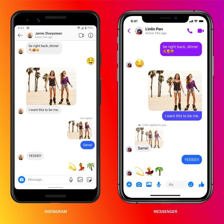 Instagram 一方(左)與 Messenger 一方的信息會保持一致。