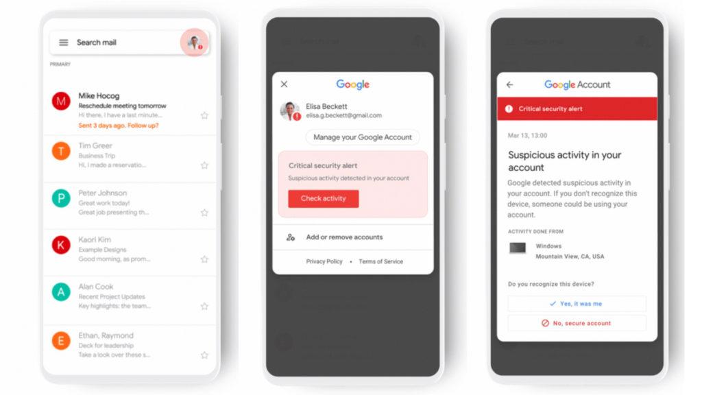 新的保安推播方式會顯示在任何使用 Google 帳戶的程式右上角,帳戶圖示會呈現紅色,點擊它就會報告所出現的保安問題。