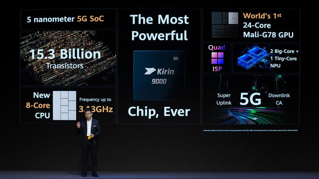 Kirin 9000 處理器使用 5nm 製程,處理器最高速度可達 3.13 GHz,更配置首款 24 核心 Mali-G78 GPU,令圖像處理表現大大提升,當然亦不缺少雙大核及微核 NPU 架構,令AI運算帶來更佳表現。