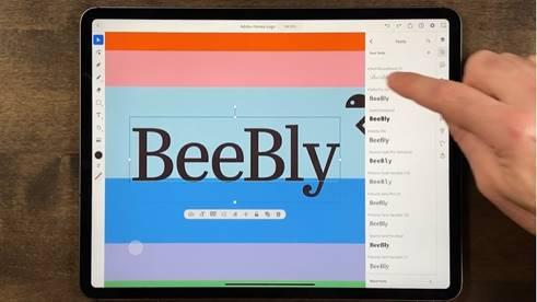 iPad 版 Illustrator 有超過 18,000 款字體,跟桌面版一樣可以建立路徑文字和將文字轉換為外框。