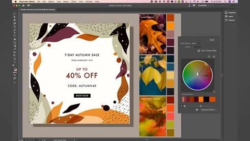 圖稿重新上色工具讓用戶快速更改或替換設計中的顏色。