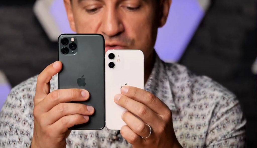 再來就是同 iPhone 11 Pro 比較,iPhone 12 Mini 細了一個圈。
