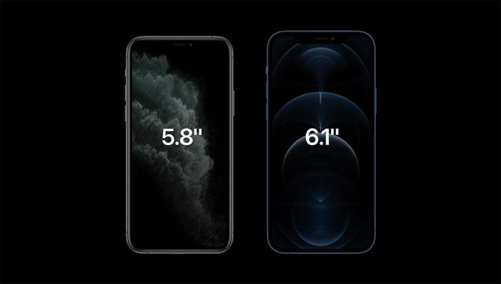 iPhone 11 Pro 與 iPhone 12 Pro 屏幕尺寸比較。