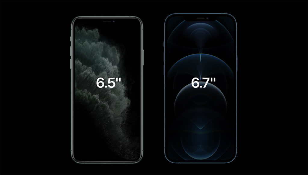 iPhone 11 Pro Max 與 iPhone 12 Pro Max 屏幕尺寸比較。