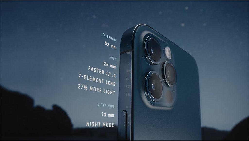 iPhone 12 Pro 的「Pro相機系統」加上LiDAR感應器,在低光下對焦速度較以往可提升 6 倍。