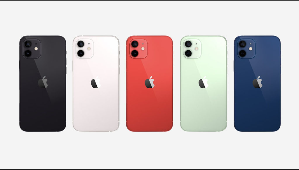 iPhone 12 的五種顏色:黑色、白色、 (PRODUCT)RED、綠色及藍色。