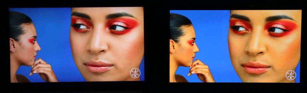4K HDR YouTube 試機畫面, Q700T (左)的顏色處理相對自然,沒有過濃甚至偏色的情況。