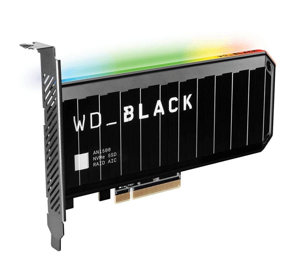 WD_BLACK AN1500 NVMe 擴展卡型 SSD 。
