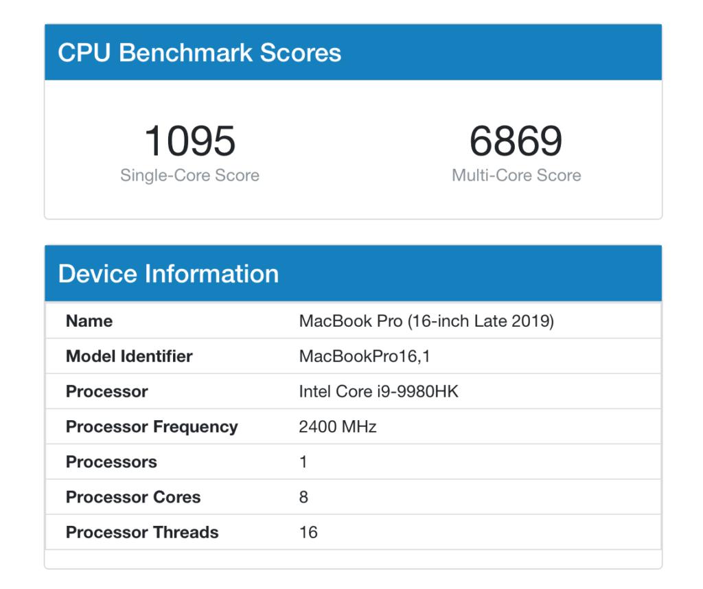 16 吋 MacBook Pro Benchmark 分數, 8 核 16 線程的 Core i7 比 Apple M1 還要差一點點。