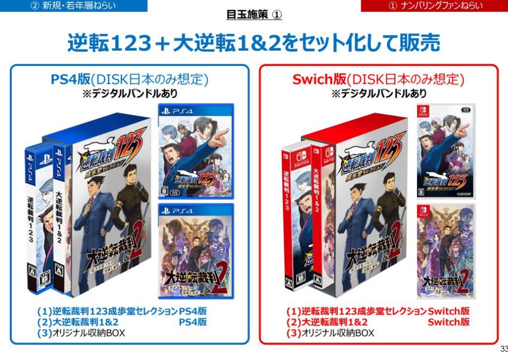 同時 PS4 、Switch 版的《逆轉裁判》與《大逆轉裁判》兩個系列計劃推出套裝版本。
