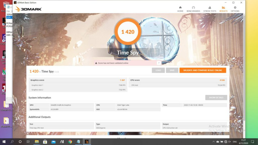 3DMark Time Spy亦有1,420分,圖像處理效能和使用NVIDIA GeForce MX250的產品很接近。