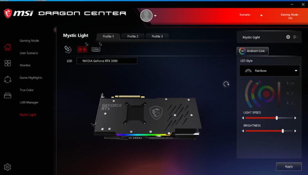 可在 Dragon Center 改變 RGB 燈效。