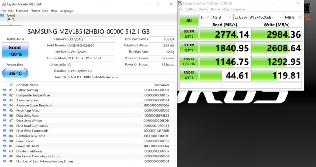 所用 NVMe SSD 有最高 2774.14MB/s 讀取、 2984.36MB/s 寫入性能。