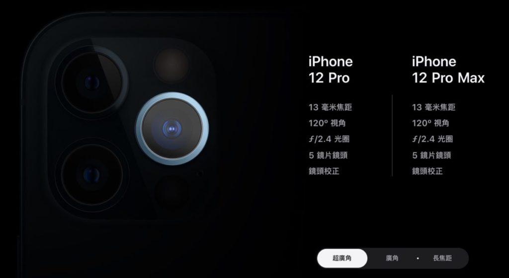 現在的 iPhone 12 Pro 和 Pro Max 採用 13mm 焦距、 F/2.4 光圈、 5 片鏡片的鏡頭。