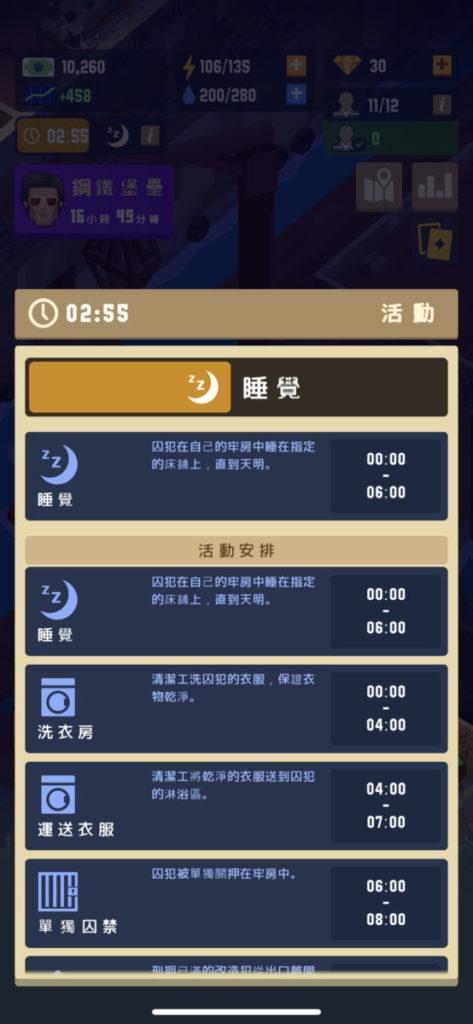 設有囚犯的活動時間表,令玩家更易了解整個監獄的運作。