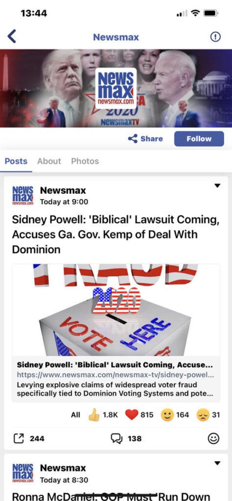 NewsMax 是其中一家被 Facebook 及 Twitter 嚴重打壓的新聞機構,最終亦選擇落戶 MeWe 。