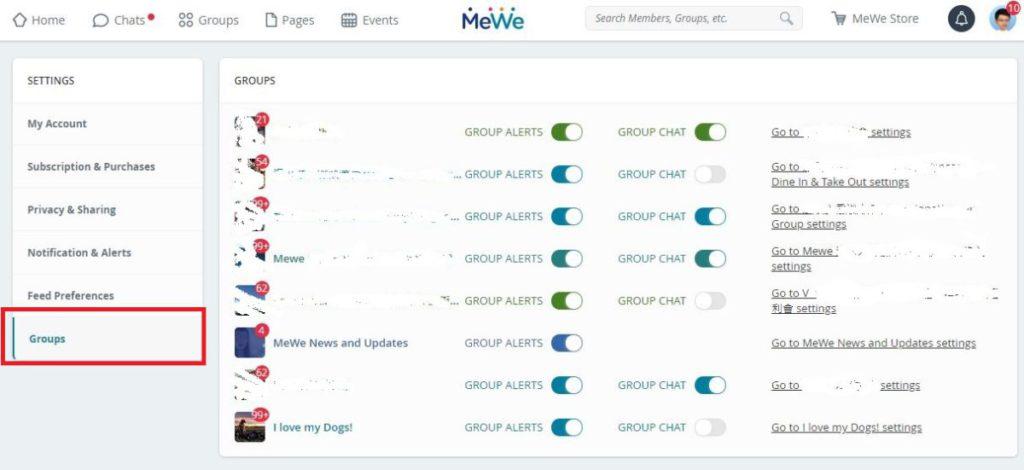 電腦版按右上角的人仔圖示,於「Settings」選擇「Groups」,逐一按所需選擇。