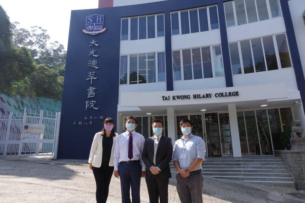 (左起) 大光德萃書院教學團隊成員梁靜巒主任、何俊杰助理校長、張毅校長和杜元軒助 理校長。
