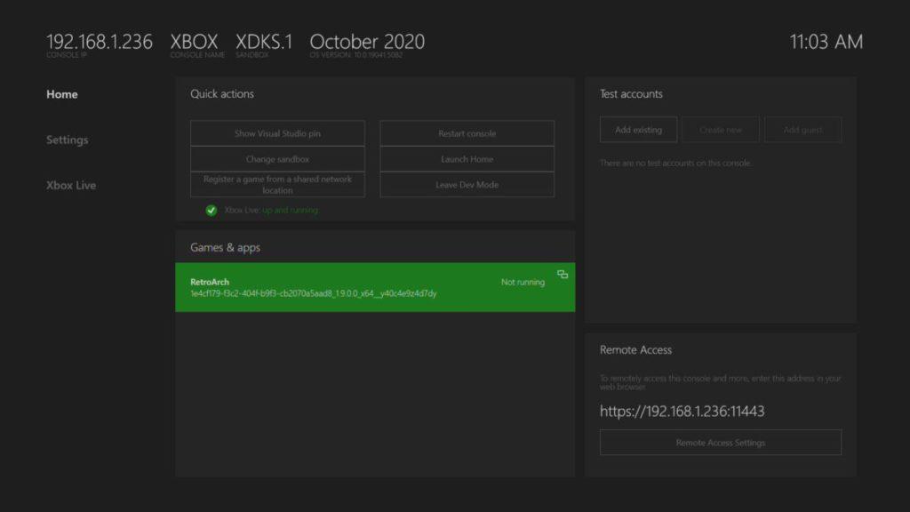 啟動開發人員模式之後,就可以上載 RetroArch 模擬器到 Xbox Series X|S 主機上。