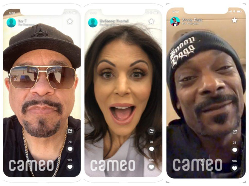Cameo 用戶可以透過打賞的方式與名人進行互動,或者請名人向家人朋友發送視頻信息。