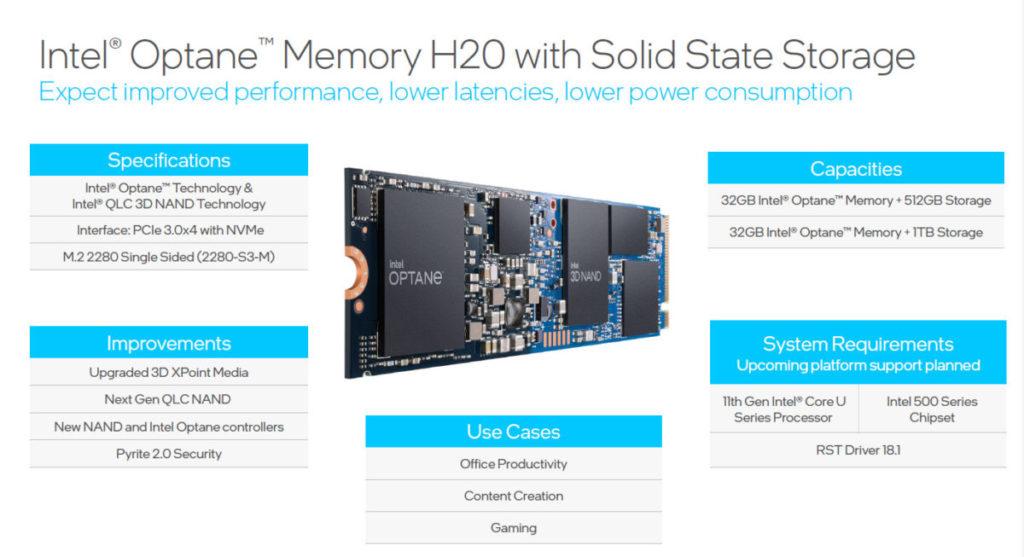 Intel Optane Memory H20 with SSD 設有 32GB Optane Memory + 512GB 或 1GB SSD 共兩個容量可選。