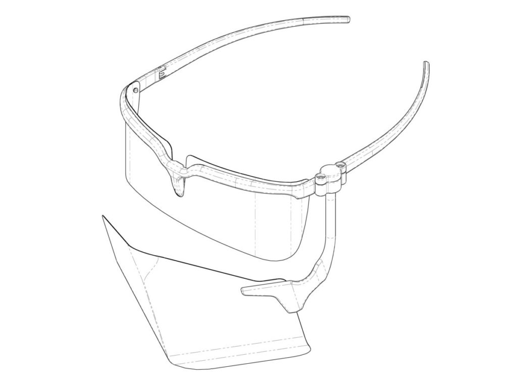 面罩由眼鏡和口罩組成,以旋轉軸相連。