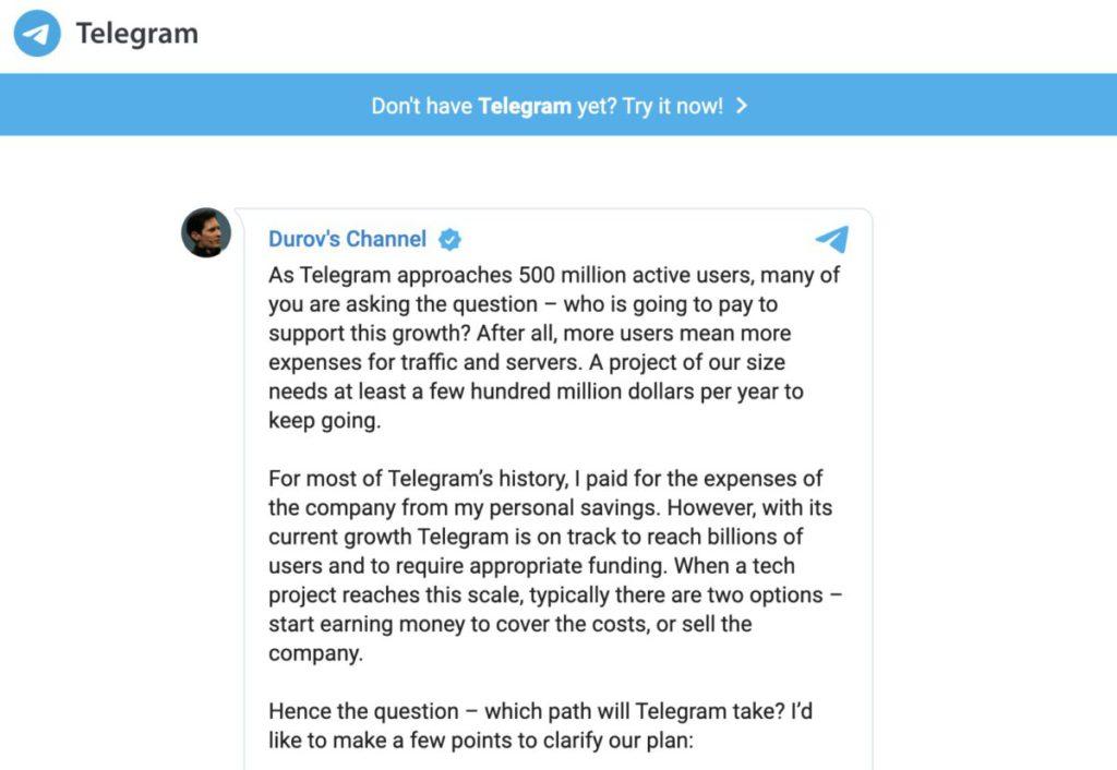 Telegram 的創辦人 Pavel Valerievich Durov 表示要維持 5 億活躍用戶的社群,明年要開始營利。