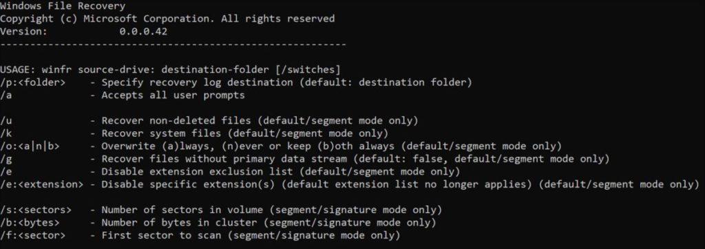 Windows File Recovery 是個 Win32 指令行程式。