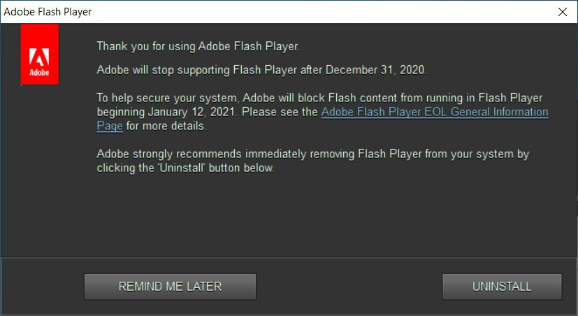 Flash Player 彈出警告視窗,強烈建議用戶解除安裝。