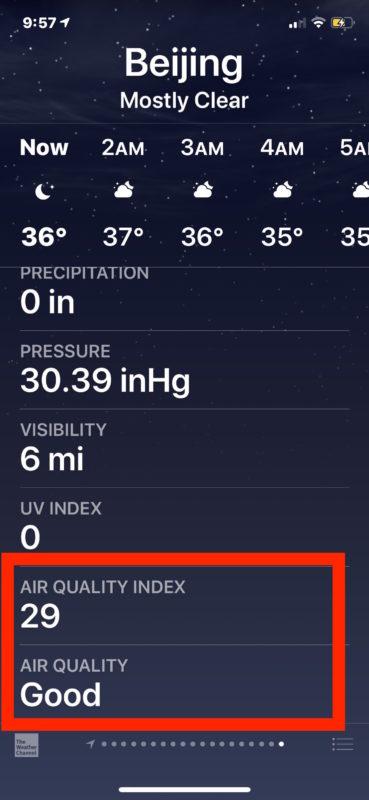 天氣應用加入空氣質素顯示