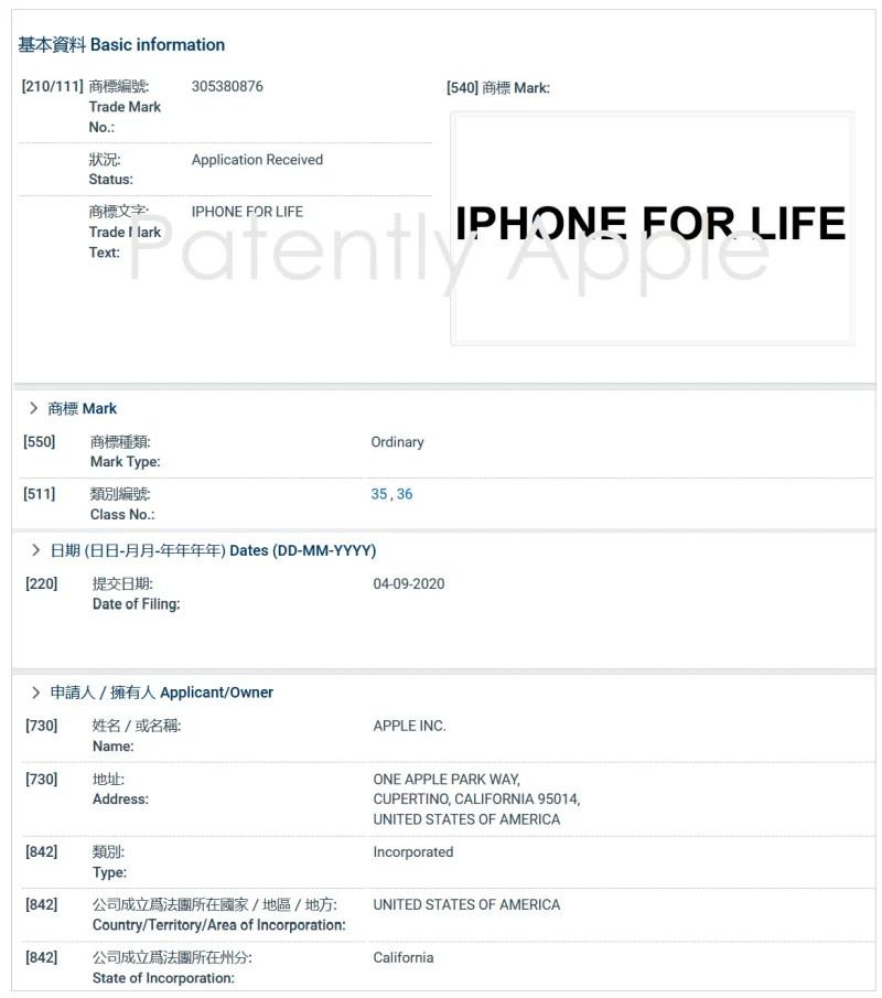 Apple 於今年 9 月在香港註冊了 Apple for Life 的商標