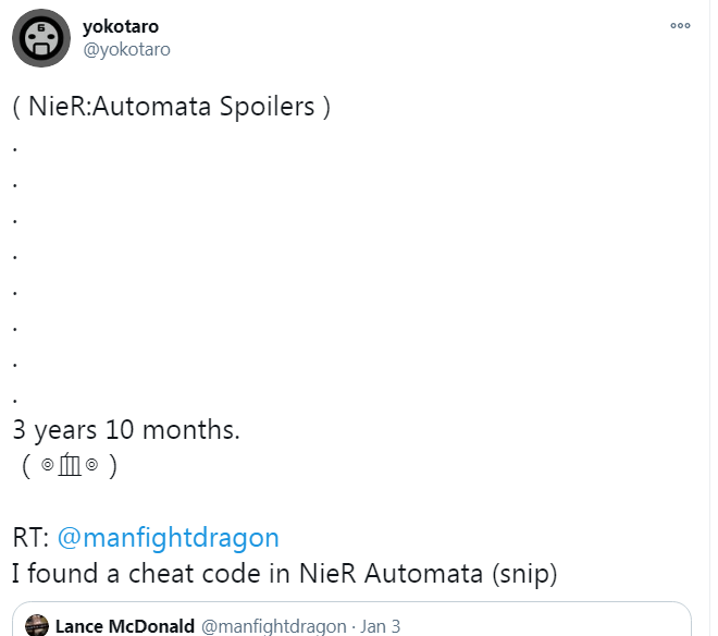 故事總監橫尾太郎的回應,似乎已經由遊戲推出第一日等待被發現該密技。