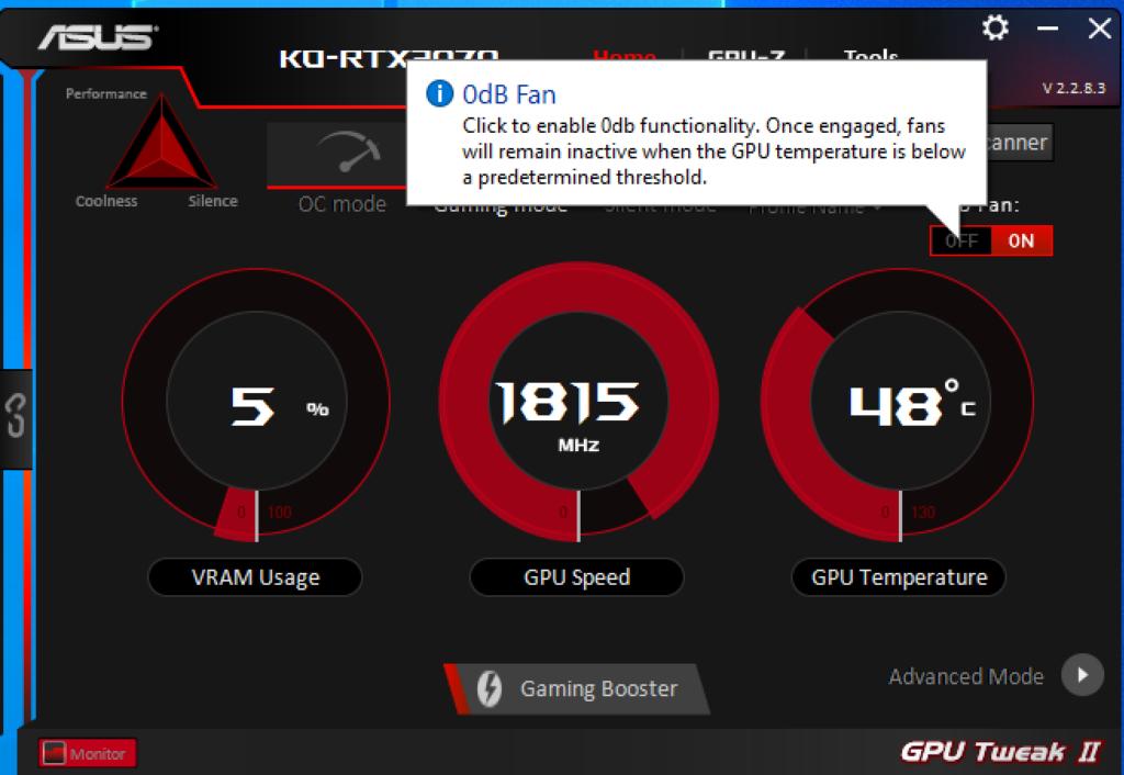 可在《GPU Tweak II》程式關掉0dB Fan功 能,讓風扇隨時工作。