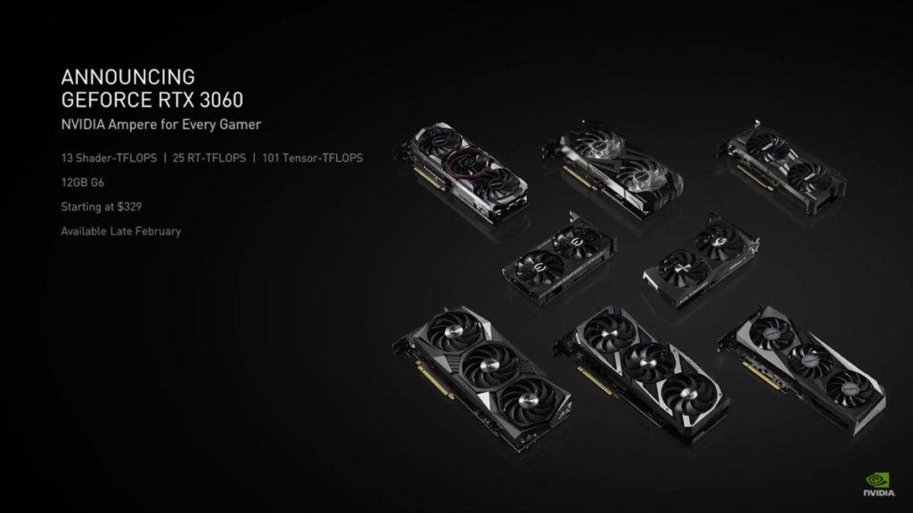 RTX 3060 將以 $329 美元起發售