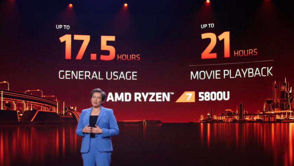Ryzen 7 5800U 在電池使用時間繼續有所改進,最高可連續使用 21 小時。