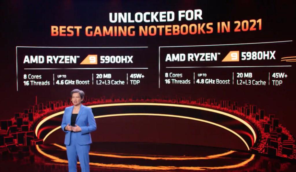 AMD Ryzen 5000HX 系列設有 Ryzen 9 5900HX 及 Ryzen 9 5980HX 兩大型號