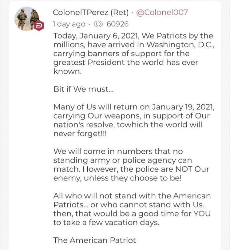 自由派組織 Sleeping Giants 引述 Parler 上有帖文呼籲民眾帶備武器在新總統就任前一天去衝擊國會。