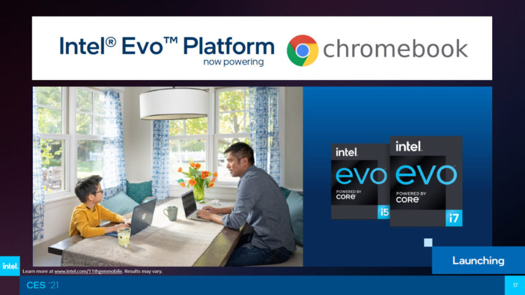 同場還公佈 Intel Evo 平台進軍 Chromebook 的好消息。