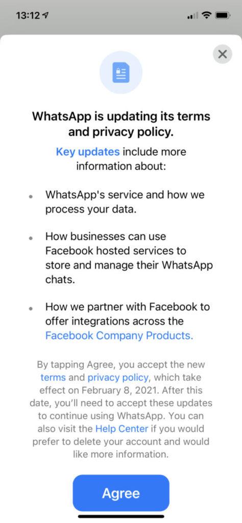 iOS 版 WhatsApp 也出現這個通告,而且沒有「 NOT NOW 」 選項。