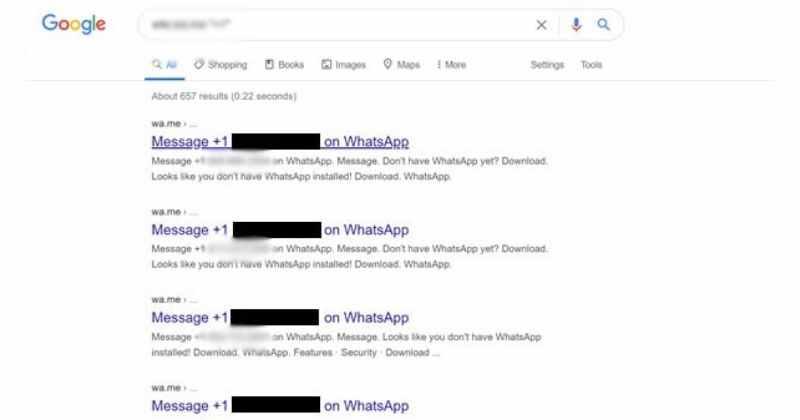 WhatsApp 用戶的電話號碼出現在 Google 搜尋上
