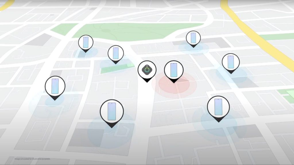Galaxy 手機用戶間組成加密 Galaxy Find 網絡,互相幫助傳送物件位置資料。